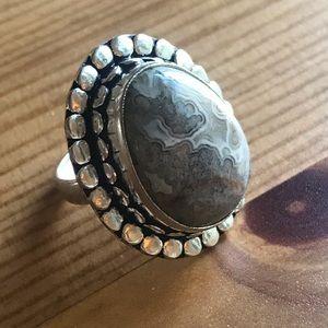 Jewelry - Handmade Oval Jasper Stone Sterling Silver Ring